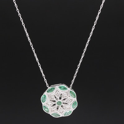 14K White Gold Diamond and Emerald Pendant Necklace
