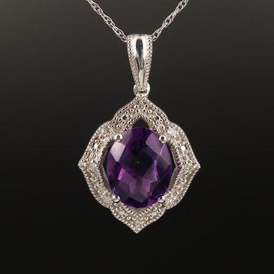 14K Amethyst and Diamond Quatrefoil Necklace