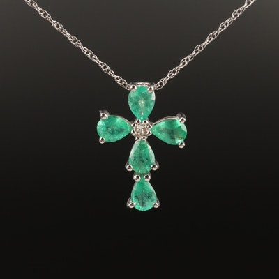 14K White Gold Emerald and Diamond Cross Pendant Necklace