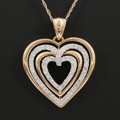 14K Gold 1.00 CTW Diamond Concentric Heart Pendant Necklace
