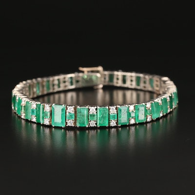 Sterling Silver Emerald and 1.50 CTW Diamond Bracelet