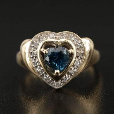 14K Yellow Gold Blue Topaz and Diamond Heart Shaped Ring