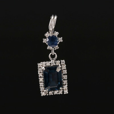 14K Gold Sapphire and Diamond Pendant with 1.71 CT Center Stone