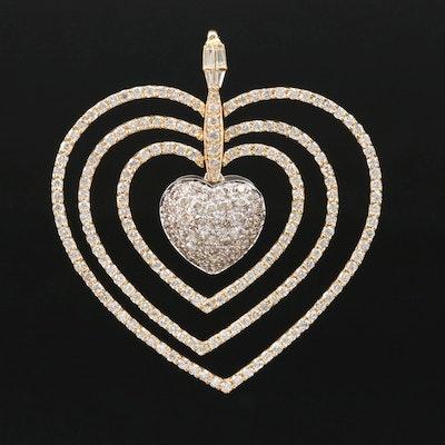 14K Gold 5.06 CTW Diamond Heart Pendant