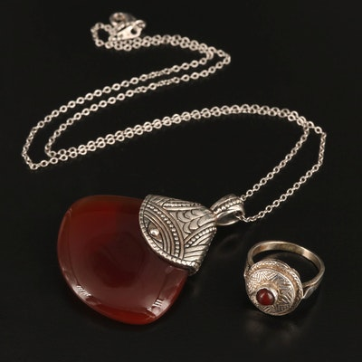 Vintage Sterling Silver Carnelian Pendant and Ring Set