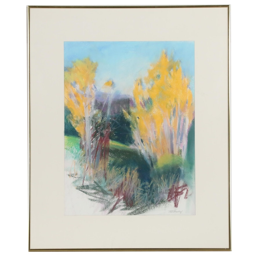 M. Katherine Hurley Underbrush Landscape Pastel Drawing