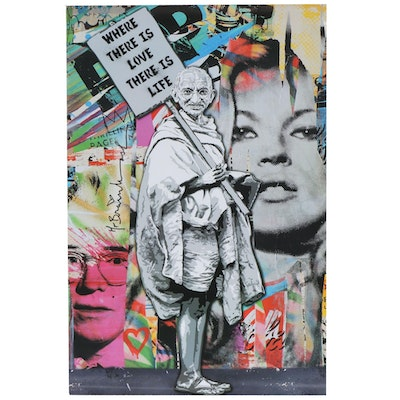 """Offset Poster Print after Mr. Brainwash """"Where There is Love There is Life"""""""