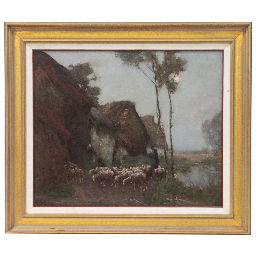 William Watt Milne Landscape Oil Painting Figures and Sheep, Turn-of-the-Century