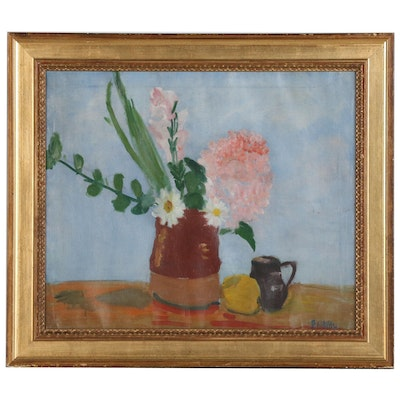 "Bessie Hoover Wessel Oil Painting ""Still Life with Flowers"""