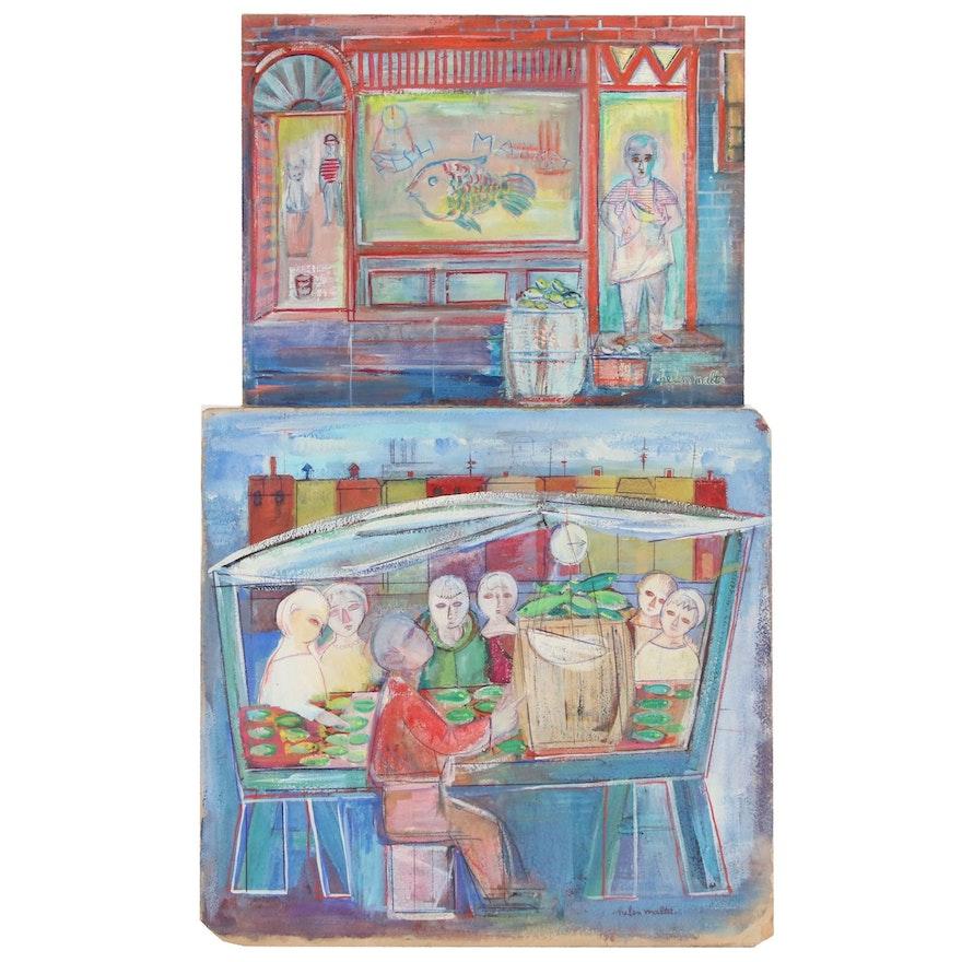 Helen Malta Mixed Media Paintings of Fish Markets