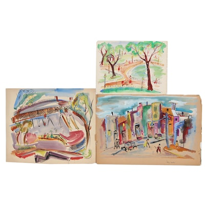 Helen Malta Watercolor Paintings of Park and City Scenes