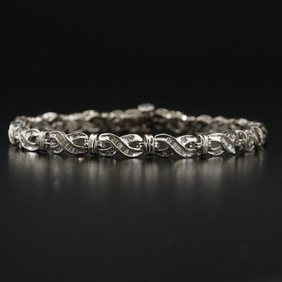 14K White Gold 1.02 CTW Diamond Link Bracelet