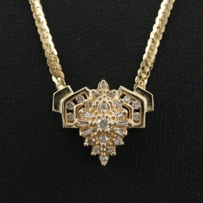 14K Yellow Gold Diamond Stationary Pendant Necklace