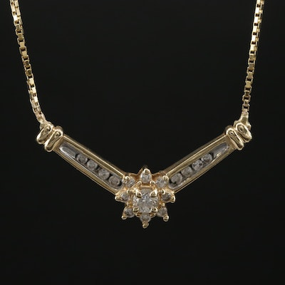 14K Yellow Gold Diamond Chevron Necklace
