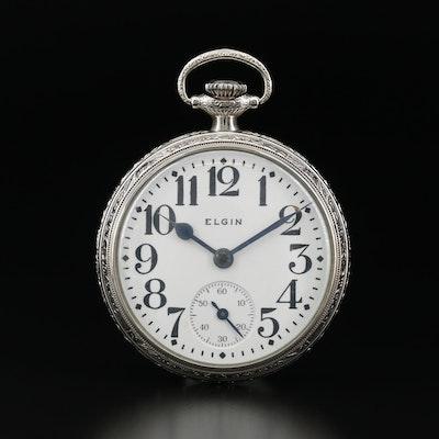 Elgin 10K Gold Filled Open Face Pocket Watch, Vintage