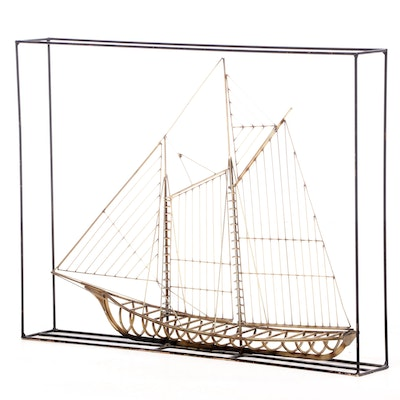 Metal Sculpture of a Schooner in Rose and Black Metal, Style of Curtis Jere
