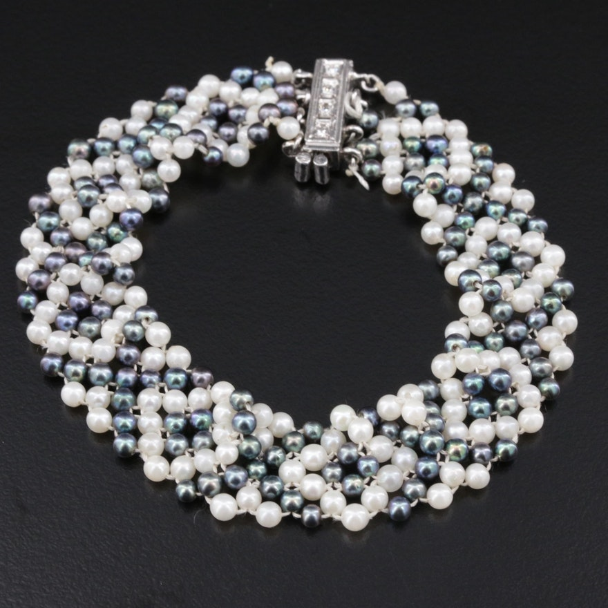 14K Gold Diamond and Pearl Woven Bracelet