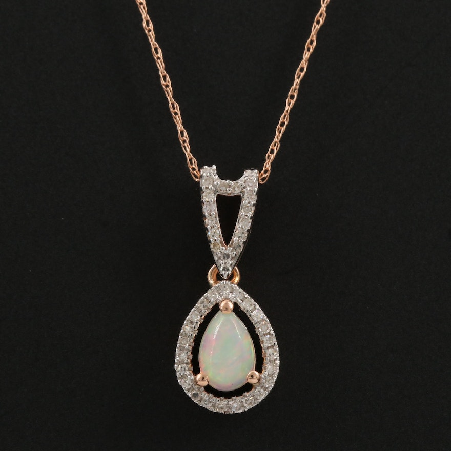 14K Rose Gold Opal and Diamond Pendant Necklace