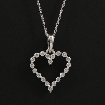 14K Gold Diamond Heart Pendant Necklace