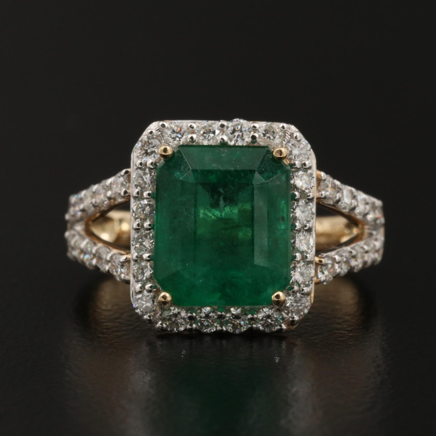 14K Gold 3.51 CT Emerald and Diamond Ring