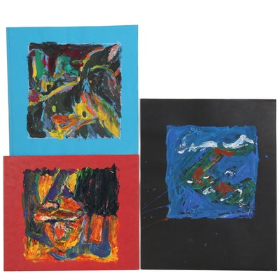 Robert W. Hasselhoff Abstract Acrylic Paintings, Late 20th Century