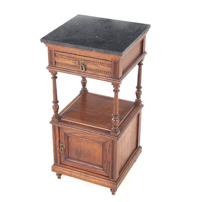 Chip-Carved Oak with Black Marble Stand, Early 20th Century