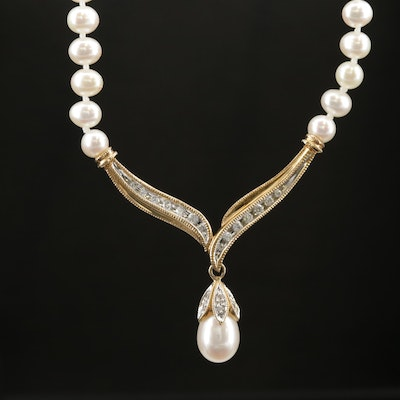 14K Yellow Gold Knotted Cultured Pearl and Diamond Necklace