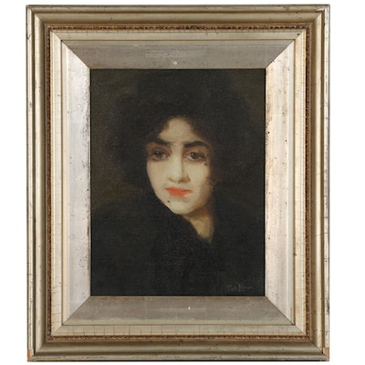 Francis Luis Mora Portrait Oil Painting, Early 20th Century