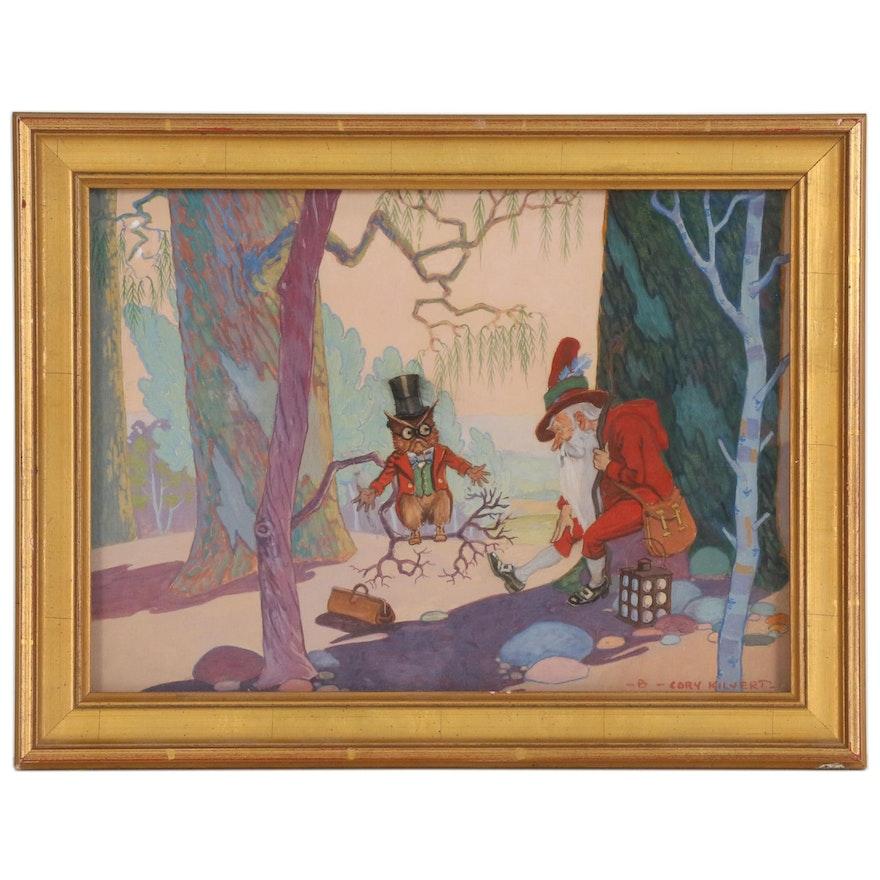 Benjamin Sayre Cory Kilvert Gouache Illustration, Early 20th Century