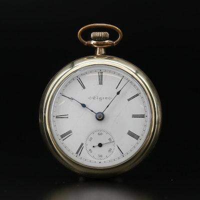 Antique Elgin B.W. Raymond 14K Gold Filled Open Face Pocket Watch
