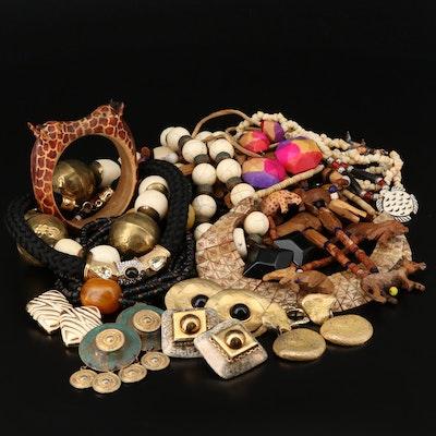 Bone, Shell and Wood Jewelry Assortment