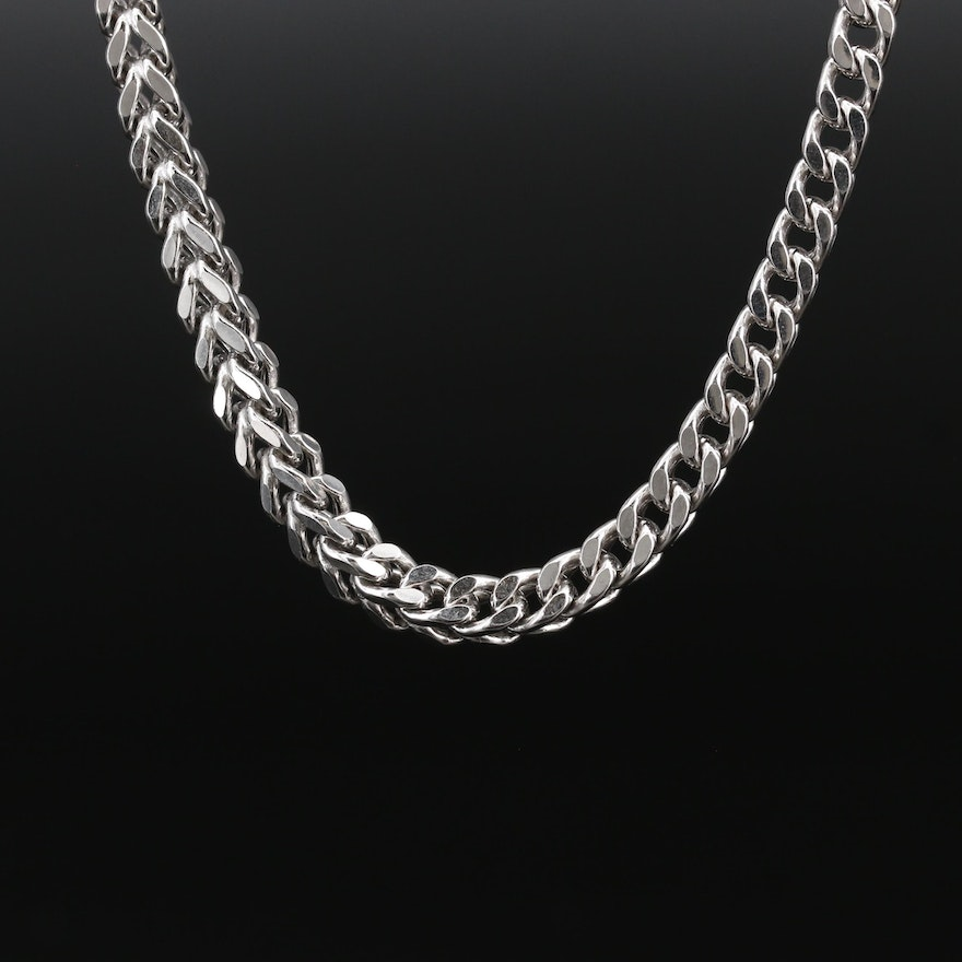 Sterling Silver Foxtail Chain Necklace