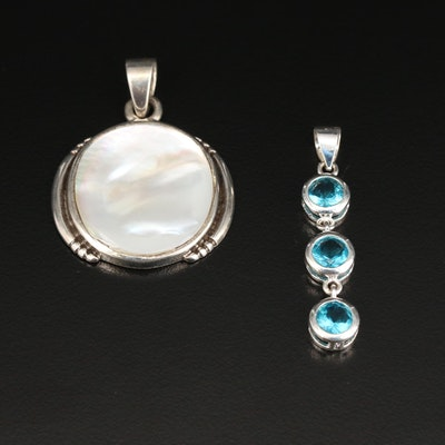 Sterling Silver Blue Topaz and Mother of Pendants