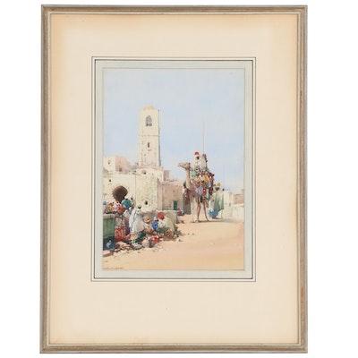 """Noel Harry Leaver Orientalist Watercolor Painting """"Arabs Resting, Algiers"""""""