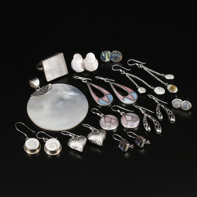 Sterling Silver Mother of Pearl, Abalone and Shell Jewelry
