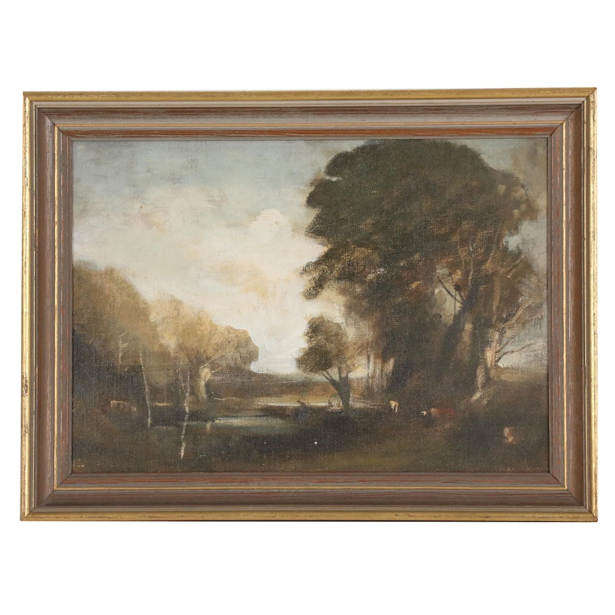 Pastoral Landscape Oil Painting, Mid 20th Century