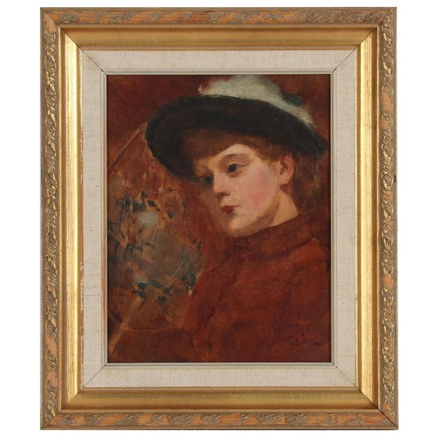 Hugo August Bernhard Breul Oil Portrait of Woman in Red