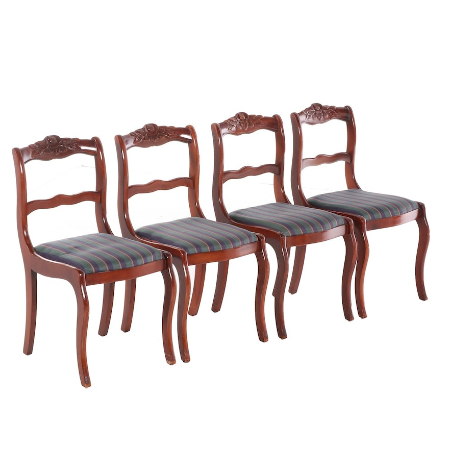 Hickory Chair Cherry Finish Upholstered Side Chairs