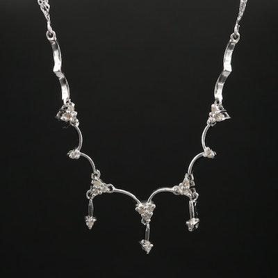 10K White Gold Diamond Stationary Necklace