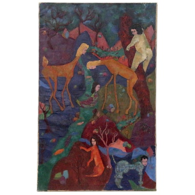 Esther Rolick Abstract Oil Painting of Human-Animal Hybrids, 1941