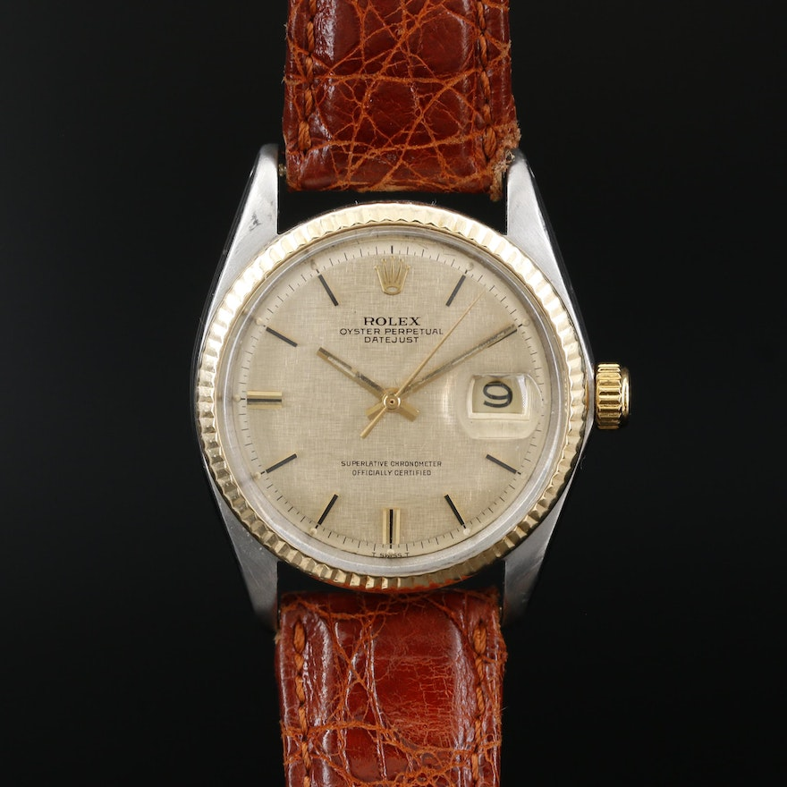 1969 Pie Pan Dial Rolex Datejust 14K Gold and Stainless Steel Wristwatch