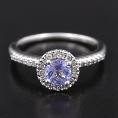 14K Gold Tanzanite Ring with Diamond Halo and Shoulders