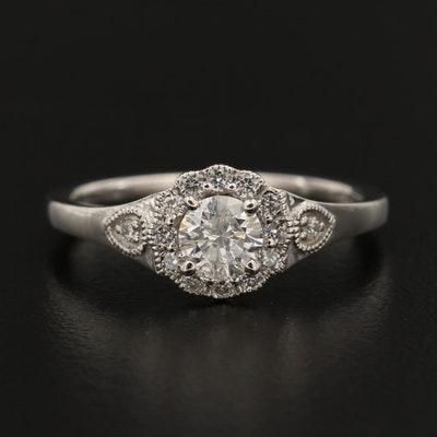 Platinum Diamond Ring with Milgrain Details