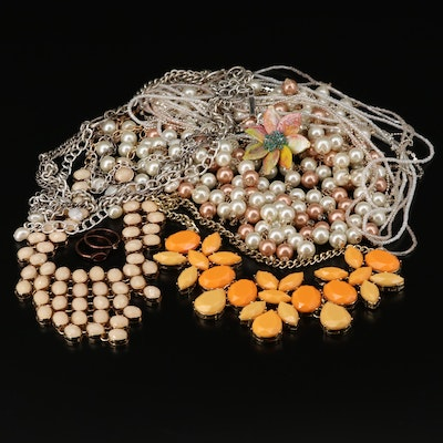 Cultured Pearl, Imitation Pearl and Pumpkin Seed Pearl Jewelry Assortment