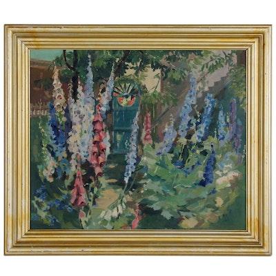 Helen Gapen Oehler Oil Painting of Garden Scene