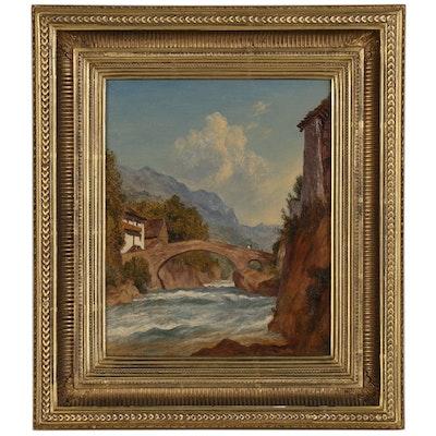 John Henry Hill Oil Painting of Swiss Footbridge, 1880