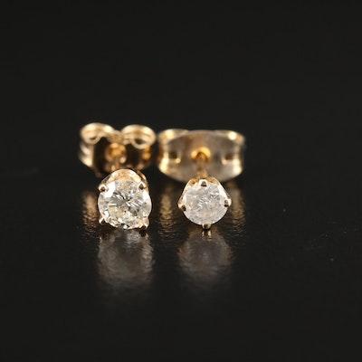 14K Gold 0.39 CTW Diamond Single Stud Earrings