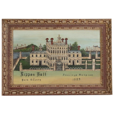 Folk Style Oil Painting of Rippon Hall, Jennings Mansion