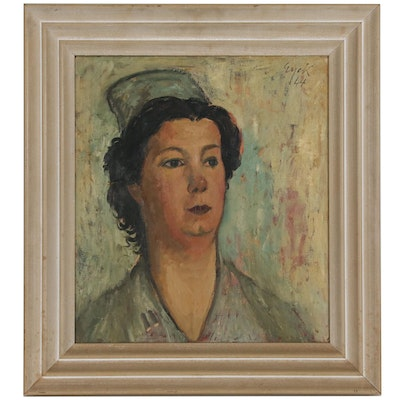 Charles Eyck Portrait Oil Painting of Woman, 1944