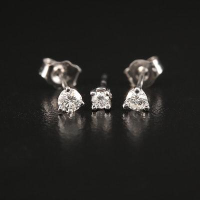 14K Gold 0.26 CTW Diamond Martini Stud Earrings and Single Earring